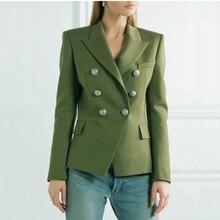 Alta qualidade nova moda 2020 designer blazer jaqueta feminina leão botões de metal duplo breasted blazer casaco exterior verde