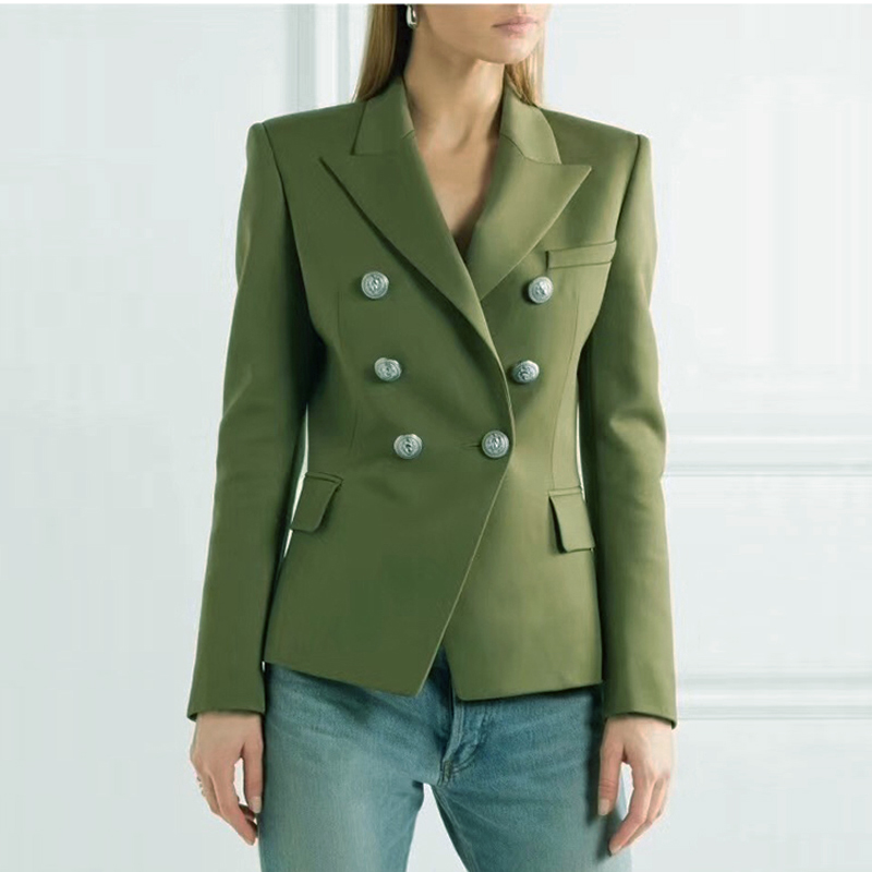 HIGH QUALITY New Fashion 2020 Designer Blazer Jacket Women's Lion Metal Buttons Double Breasted Blazer Outer Coat Green