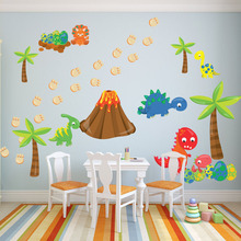 цена на Cartoon Dinosaur And Egg Funny Wall Sticker For Kids Rooms Nursery Decoration PVC Removable Wallpaper Wall Art Decals Home Decor