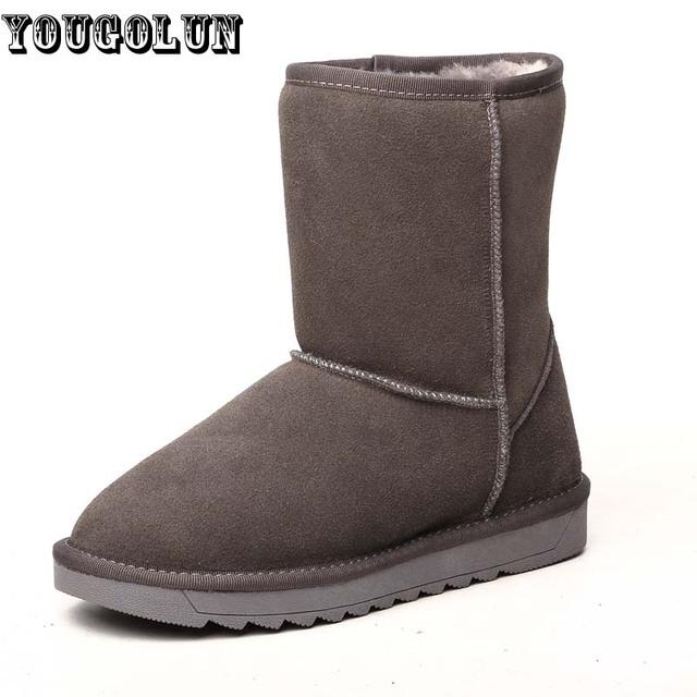 Yougolun inverno mulheres botas de neve genuína botas de camurça de couro da mulher da forma ankle Boots Senhora dedo do pé Redondo Preto Vermelho Cinza Plana Quente sapatos