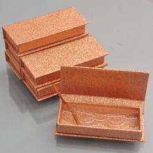 100pcs wholesale false eyelash packaging box lash boxes custom your logo fake 3D mink lashes glitter square magnetic case empty