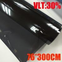 76cmx300cm/Roll Light Black Car Window Tint Film Glass VLT 30%/ Roll 1 PLY Car Auto House Commercial Solar Protection Summer