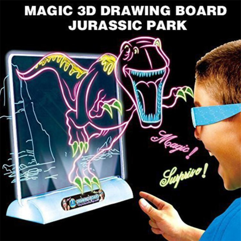 3D Light Up Drawing Board Dinosaur Toys LCD early Educational Painting Erasable Doodle Magic Glow Pad with 3D Glasses Kids GiftDrawing Toys   -