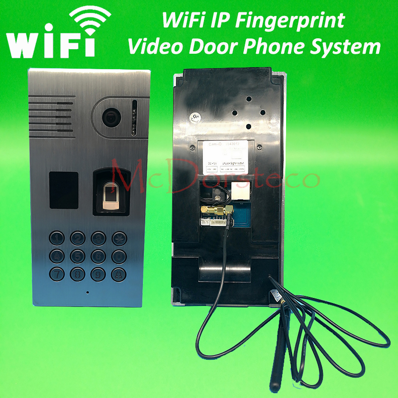Wifi IP Fingerprint & Rfid Video Door Phone Intercom Metal Outdoor Doorbell with Rfid & Code Keypad Access Door Bell System vention crystal head