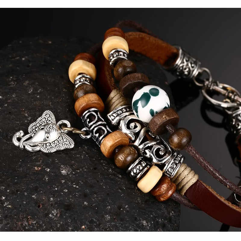 Vnox Vintage Genuine Leather Bracelet for Men / Women Beads Elephant Charm Jewelry