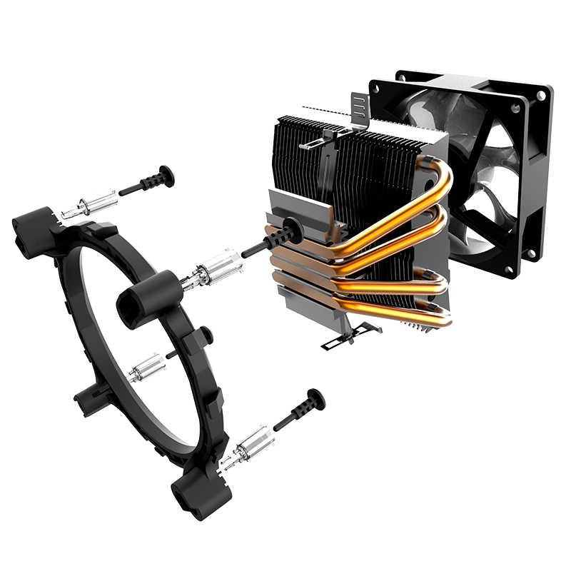 Aigo Baru CC94 LED CPU Cooler Warna-warni Kipas Pendingin AMD INTEL 4 Pipa 90 Mm PC CPU Silent CPU fan Low Harga Dukungan 2011