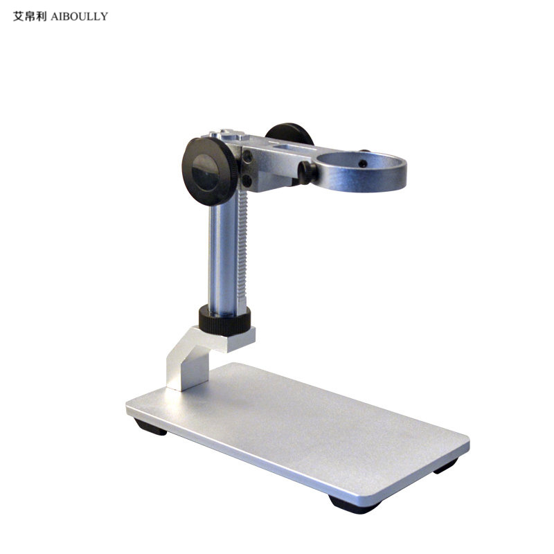 AIBOULLY USB microscope stand multi-function base 3.5 cm interface lift adjustment Electron microscopy White aluminum alloy free shipping 600x 4 3 lcd display microscope zoom portable led video microscope with aluminum stand for pcb phone repair bga
