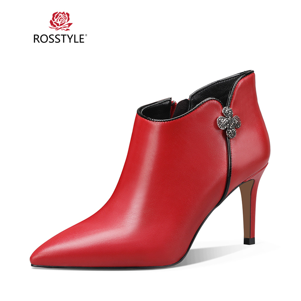 ROSSTYLE Fashion Winter Warm Ankle Boots Classic Genuine Leather Boots Sexy Pointed Toe Thin Heels Flower Buckle Lady Boots B45ROSSTYLE Fashion Winter Warm Ankle Boots Classic Genuine Leather Boots Sexy Pointed Toe Thin Heels Flower Buckle Lady Boots B45