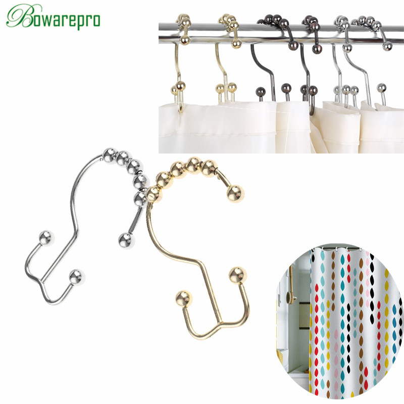 bowarepro 12Pcs Rust Proof Stainless Steel Double Glide Shower Curtain Rings Hooks Metal Glide Bathroom Shower Hook Roller Balls минибар д ликера кольцо 7 пр стекло