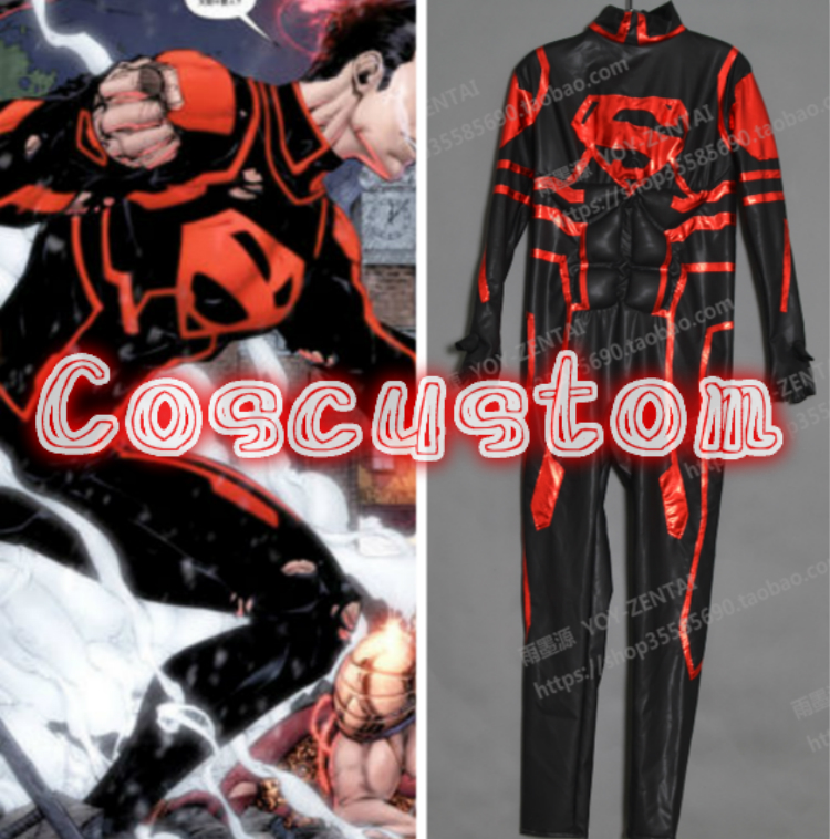 Coscustom High Quality Young Justice Superboy Costume rubber coating Suit with muscle effect Cosplay Costume