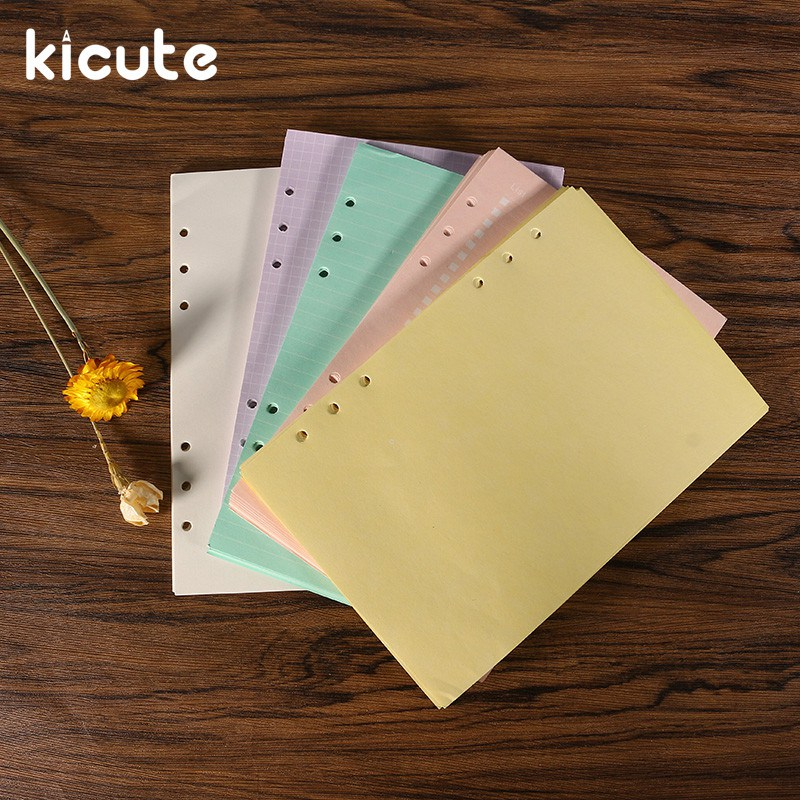 Kicute 40 sheets A5 Refills Spiral Notebook Inner Pages 6 holes Loose Leaf Binder Paper Planner Filler Paper School Supply
