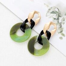 Bohemian Oversize Long Chain Earrings for Women Colorful Acrylic Resin Vintage Round Dangle Womens Jewellery Oorbellen