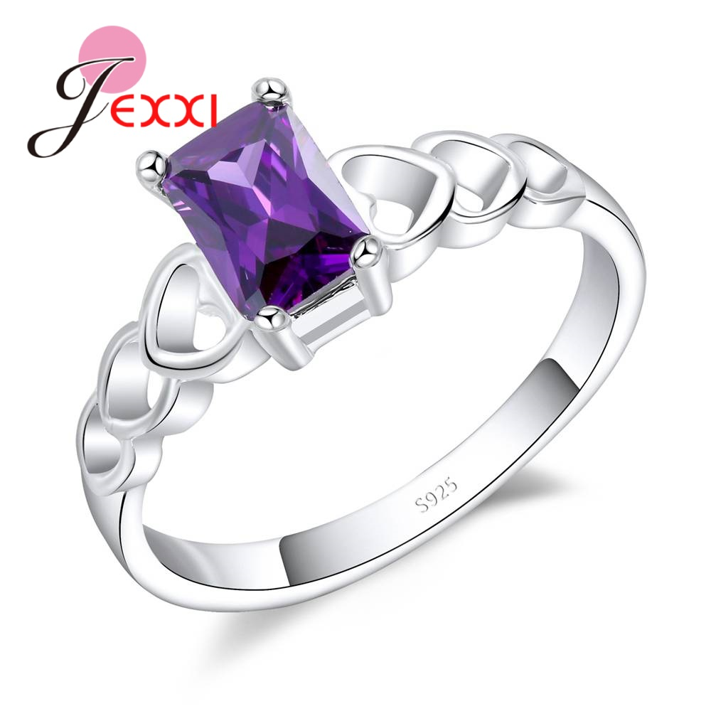 JEXXI Rectangle Purple Crystal Rings Fashion Women Sterling Silver 925 Jewelry Hollow Ou ...