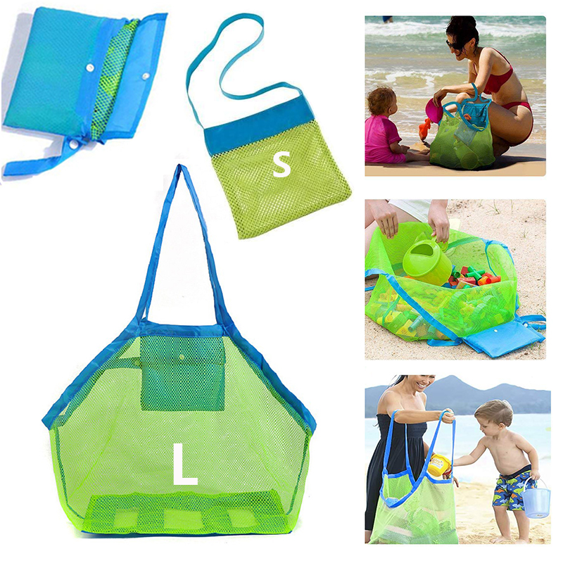 Portable Foldable Mesh Beach Bag Kids Toys Tote Outdoor Sport Swimming Storage Bag Beach Towel Ball Clothes Organizer Travel
