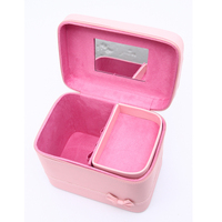 Quality PU leather Trunk Shaped Brand Cosmetic Bag Make Up Toiletry Bag Cosmetic Pouch with Compartment trousse de maquillage