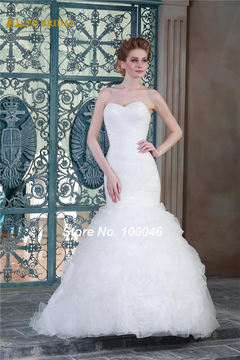 Mermaid Wedding Dresses Beautiful Ruffled Floral Skirt Affordable ...