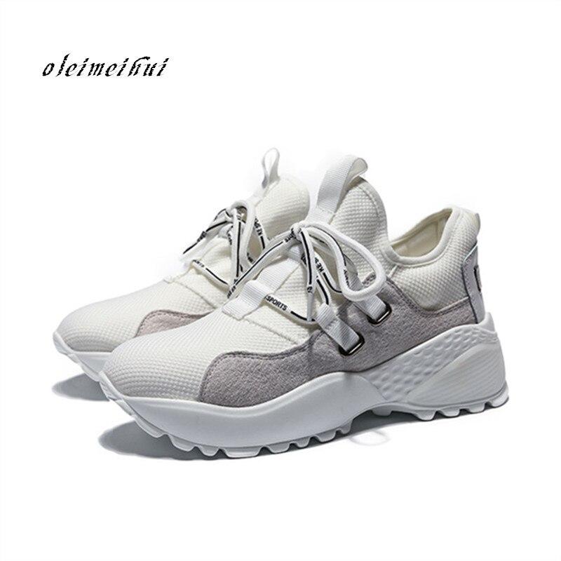 Printemps Designer compensées blanc plate-forme baskets en cuir véritable femmes chaussures Tenis Feminino décontracté Air Mesh femme chaussures Basket