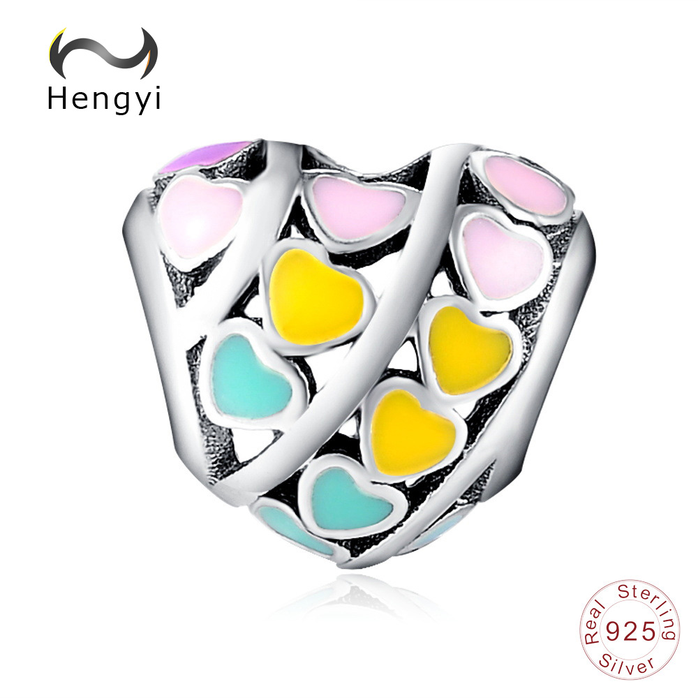 Hengyi Trendy New 925 Sterling Silver Colourful Peach Heart Shape Beads Fit Women Bracelets DIY Jewelry