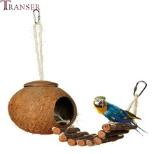 Transer Pet Supply Small Animals Home Coconut Carrot Parakeet Birds Cage House Bed Nest With Wood Stairs 80104(China)