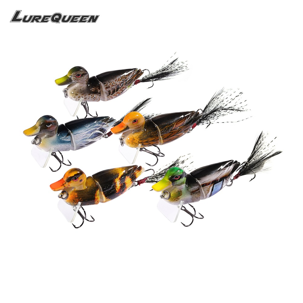 5Pcs/lot Duck Fishing Lure Crankbait Minnow Jointed Hard Baits Lifelike 3D Eye Swimbait Fishing Tackle Wobbler Topwater 2018 New