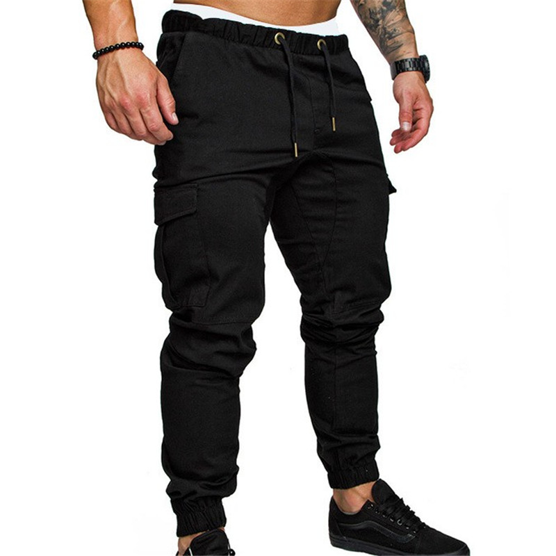 Autumn Winter 2019 Mens Multi-pocket Casual Sweatpants Men Gyms Fitness Bodybuilding Joggers Long Pants 6 Colors Size M-3XL