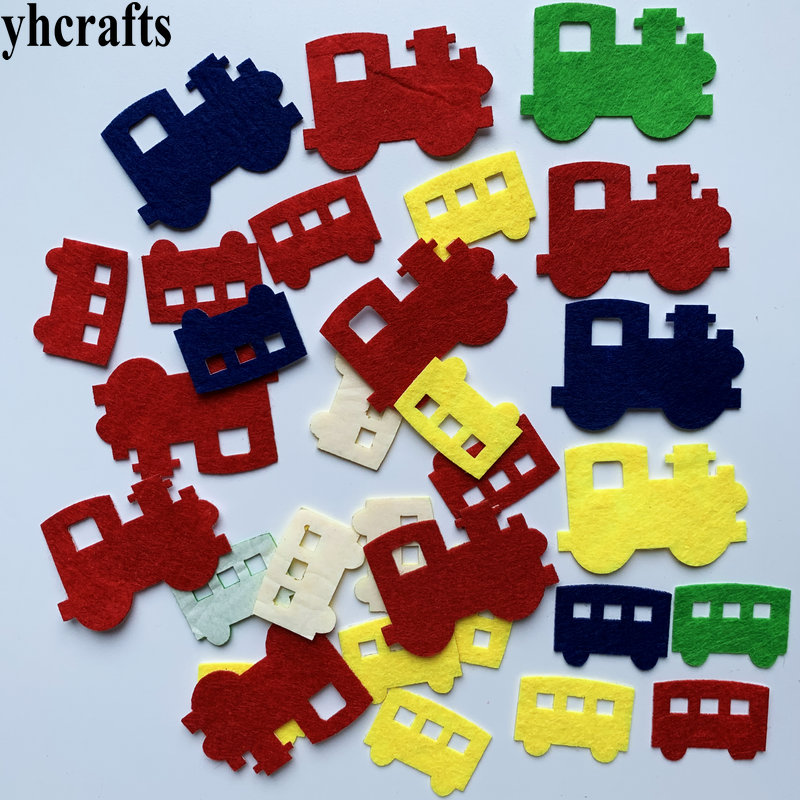 1bag(30-50PCS) Car Vehicle Felt Stickers Fabric Crafts Early Learning Educational Toys Self Learning Kindergarten Crafts Gifts