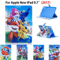 Fashion Cartoon Cute Case For Apple New iPad 9.7 2017 Case Cover Funda Tablet Model A1822 Soft TPU Back PU Leather Stand Shell