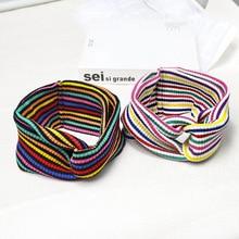 Xugar Hair Accessories Wide Side Striped Cross Knot Headband for Women Girls Soft Elastic Hairband Fashion Cotton Turban