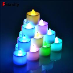 Электронная свесветодио дный ча светодиодная мини красочная романтическая бездымного Беспламенного Свеча лампа Свадьба День Рождения