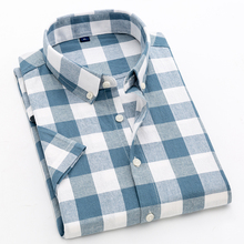 2019 new plaid short-sleeved shirt summer mens 100% cotton business casual slim large size S-4XL