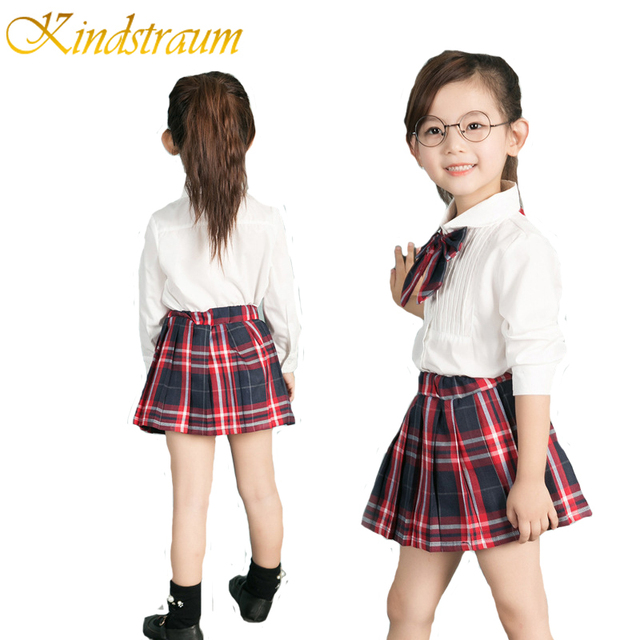 17d68df04 Kindstraum 2017 New Brand Girls Clothing Sets 3pcs Long Sleeve  Blouse+Skirt+Tie Kids