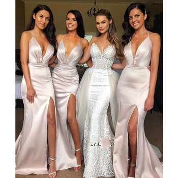 Simple Halter Deep V Neck Mermaid Bridesmaid Dress Sleeveless Front Split Cross Straps Maid Of Hornor Dress