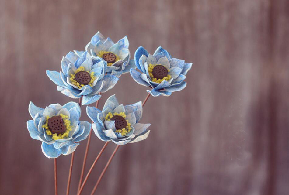 5pcs 8cm Dried Blue Lotus Flower For Craft Gift Material Accessory