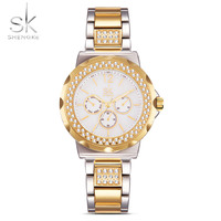 SK Gold Fashion Women Watches Rhinestones Stainless Steel Band Buckle Bracelet Wrist Watch Multiple Colour Female