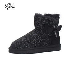 Top Quality 2017 New Genuine Sheepskin Leather Snow Boots 100% Natural Fur Botas Mujer Fashion Warm Ankle Shoes For Women