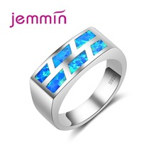 Jemmin Precious Blue Opal Rings For Women And Men Unisex Big Charm Rings 925 Sterling Silver 2017 New Fine Jewelry Accessories