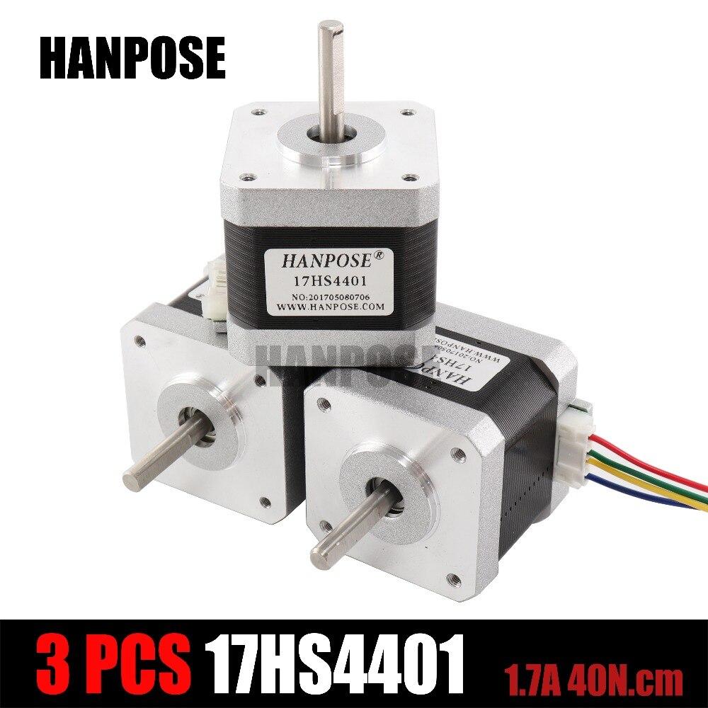 3 unids 4-plomo Nema17 Motor paso a paso 42 motor NEMA 17 42 BYGH 1.7A (17HS4401) uso para 3D impresora y CNC