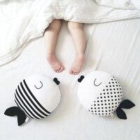 1pc 50cm Black White Fish Pillow Cushion Stuffed Toy Wave Point Cartoon Fish Pillow Baby Kids