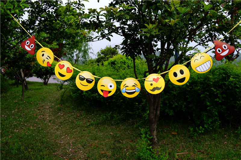 YPP CRAFT EMOJI Handmade Paper Flags Bunting Banner for Kids Birthday Party Baby Shower Decoration Supplies