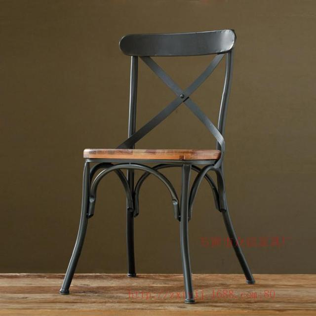 LOFT American Country To Do The Old Retro Furniture, Wrought Iron Chairs  Wood Bar Chairs