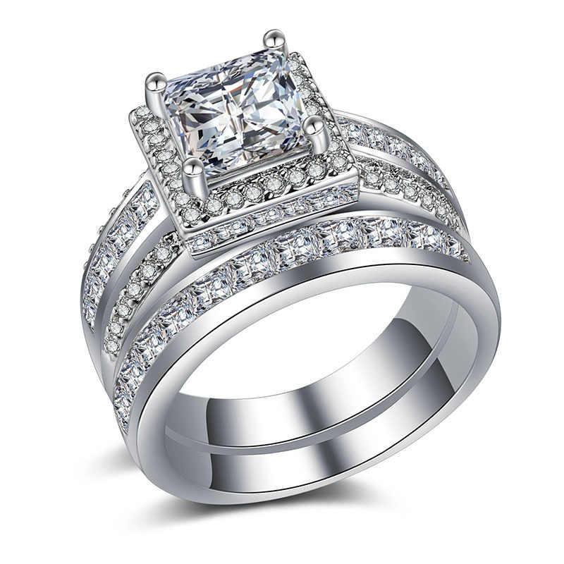 Luxo Feminino Empilhável Anel Conjunto De Cristal de Prata da Cor do Ouro de Noiva Weddin Anel de Promessa Anéis de Noivado Para As Mulheres