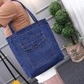 Girl Gift Leisure Denim Shopper Shoulder Bag Cowboy Beach Bags Big Capacity Tote Women Ladies Casual Shopping Bag Bolsa