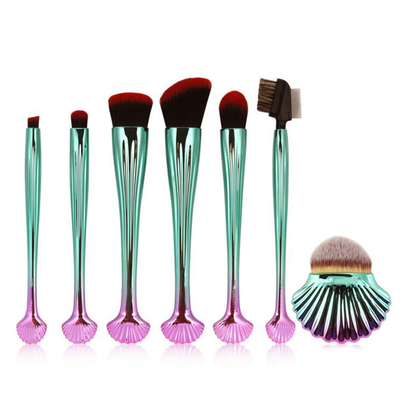7Pcs/Set Shell Mermaid Makeup Brush Kit Eyeshadow Foundation Powder Cosmetic Brushes For Eyelash Make-up Comb Big Contour Beauty 2016 new arrival black dual purpose eyelash assist device extension beauty supplies brow brush lash comb makeup brushes tools