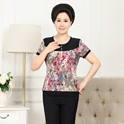 Лето женщины принт комплект одежда короткий рукав 2 частей комплект топы и брюки Feminino свободного покроя мамы костюм L-4XL LW098