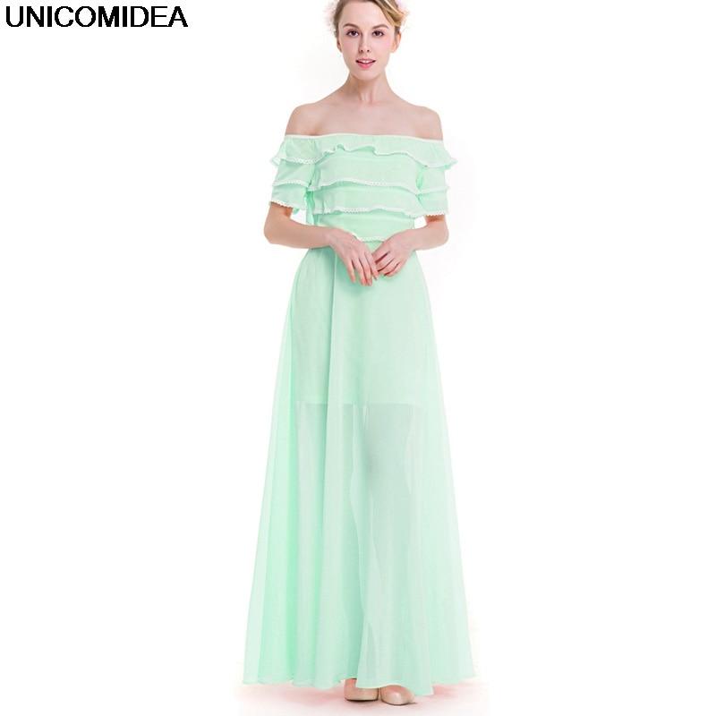 2017 Summer Bohemian Boho Chiffon Dress Robe Sexy Off Shoulder Ruffles Pink Light Green Plus Size Dress Long Party Maxi Dresses