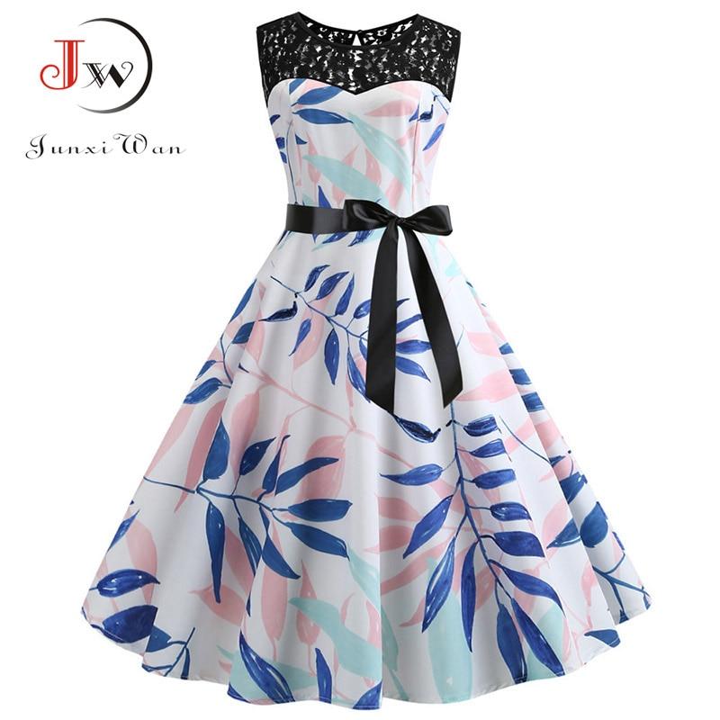 Lace Patchwork Floral Print Women Summer Dress Hepburn 50s 60s Elegant Vintage Dress Office Ladies A-Line Party Dresses Belt 2