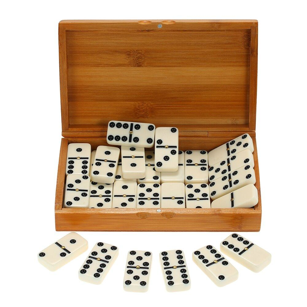MAGT Domino 28Pcs//Set Wooden Domino Game Interesting Learning Board Game Wood Cards Educational Kids Toy Set for Toddler and Adult