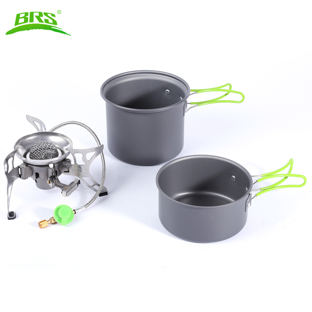 BRS-T15A Folding Outdoor Windproof Gas Stove Portable Camping Picnic Burner Pan Pot Cookware Kit with Carry Bag Picnic Cook Set point break outdoor camping cookware portable picnic stoves gas stove oven split type cs g18