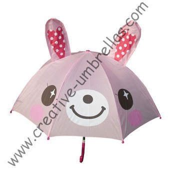 Children umbrella,kid animal cartoon umbrella-- Pink Rabbit,auto open.8mm metal shaft and fluted ribs,safe kid umbrellas