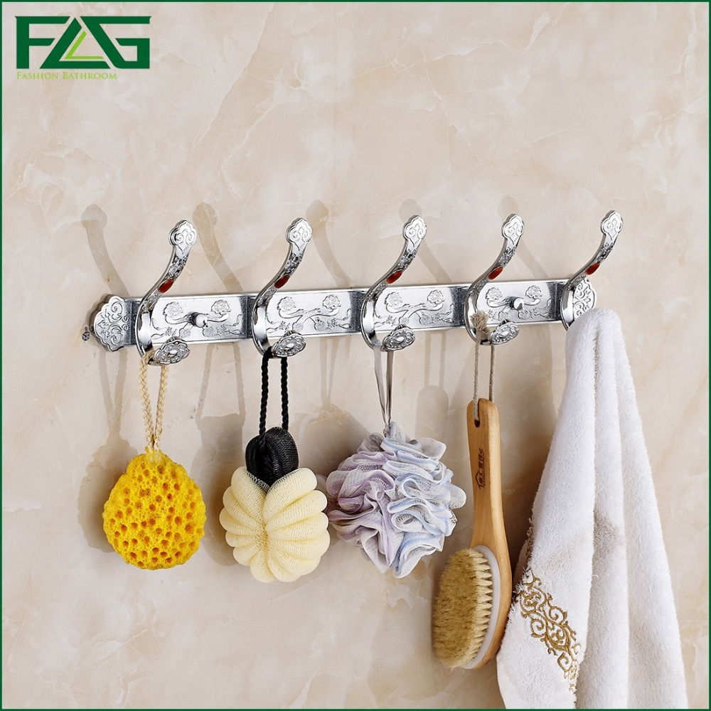 FLG Free Shipping Wall Mounted Antique /Chrome 10Color Robe Hooks Row Hook Coat Hanger Door Hooks For Bathroom Accessories RY03  free shipping high quality bathroom kitchen washroom wall door back single hook antique brass cloths cap bag key hooks 239